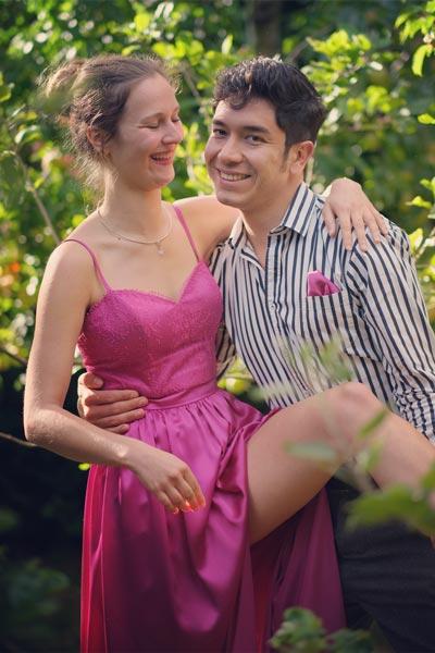 Pinkes Hochzeitskleid