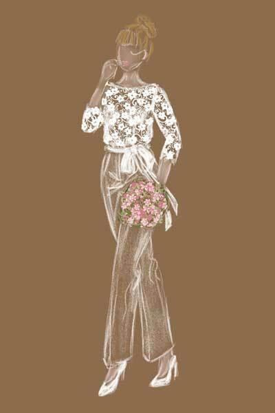 Brautjumpsuite als Zeichnung
