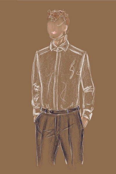 Modezeichnung Herrenhemd in weiß