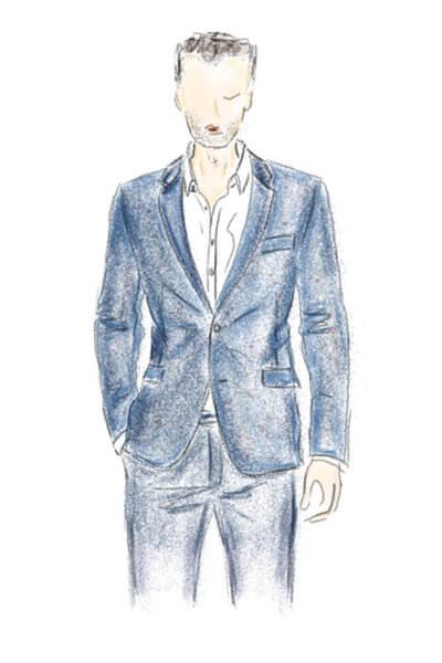 Modezeichnung Tweedsakko in Blau